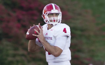 Seen here leading NC State, Pete Thomas is starting for Monroe this season