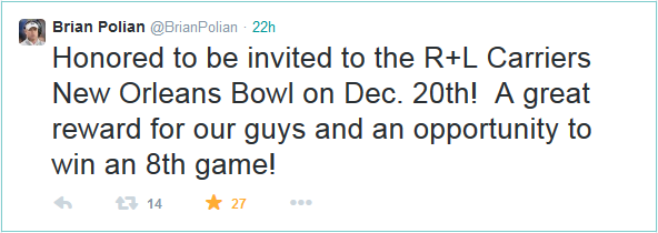 Nevada coach Brian Polian used Twitter to share the news!