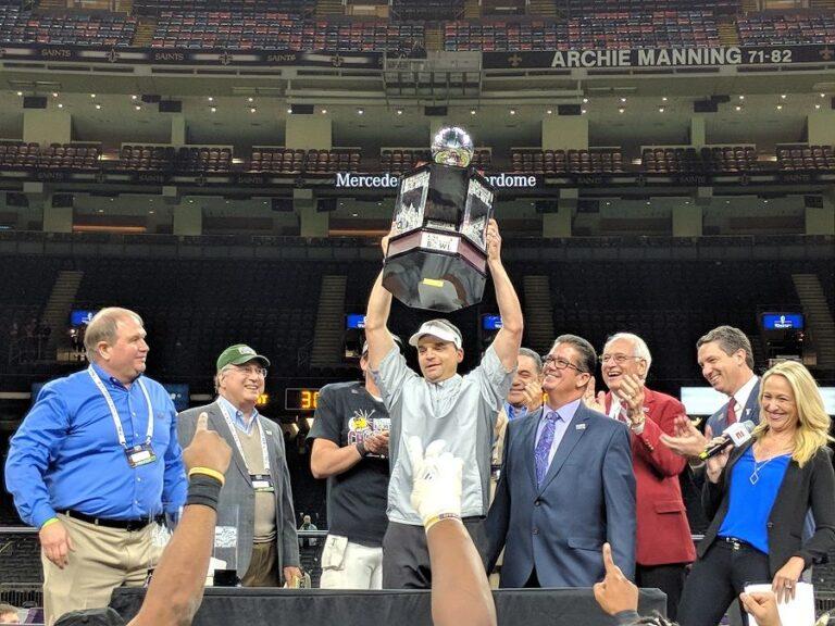 2017 R+L Carriers New Orleans Bowl Troy Trojans trophy presentation