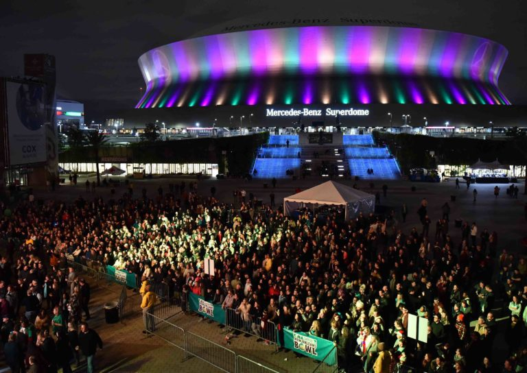 Large Crowd outside the Mercedes-Benz Superdome
