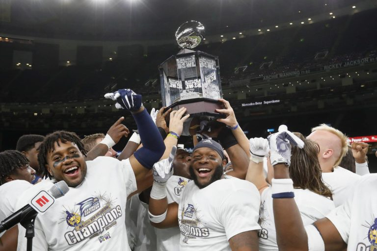 Georgia Southern receives the trophy